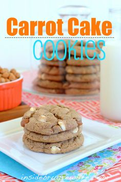 Carrot Cake Cookies - carrot cake mix cookies with caramel and white chips #cookies #recipes http://www.insidebrucrewlife.com