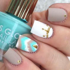 """@badgirlnailsMatte Bohemian Chic✨ Inspired by the lovely @nailartbyjen Products used: ▪️Teal - @flossgloss """"Wet"""" ▪️Tan - @essiepolish """"Sand Tropez"""" ▪️Matte Topcoat - OPI ▪️Studs - Amazon (BMC) Tutorial coming soon"""