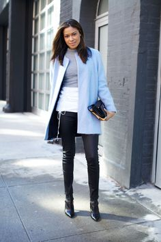 What She's Wearing  Coat: Zara Top: Theory Pants: Paige Denim Shoes: Gianvito Rossi Clutch: Prada Get the Look Chloé classic wool coat, $1548.65; farfetch.com Paige Denim 'Skylight 12' stretch skinny jean, $158; nordstrom.com   - MarieClaire.com