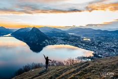 Tessin Monte Bré Lugano Sonnenuntergang Lugano, Planet Earth, Wallis, Places To See, Mount Everest, Hiking, Tours, Camping, Vacation