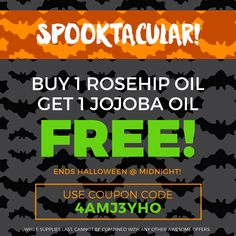 We have a SPOOKTACULAR deal on Amazon.com for you! Be sure both our items are in your cart at checkout (one-time purchase). #levenrose #jojobaoil #jojoba #rosehipseedoil #rosehipoil
