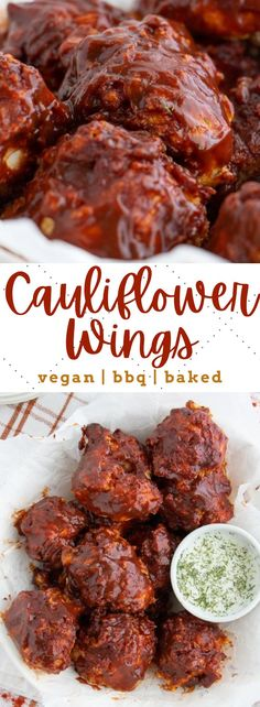 These easy vegan BBQ-flavored cauliflower wings are so deliciously crisp! Baked to perfection and ready in no time - the ultimate appetizer! #veganwings #cauliflowerwings #bbqcauliflower #bakedcauliflower Vegan Appetizers, Vegan Dinner Recipes, Savory Snacks, Vegan Dinners, Appetizer Recipes, Vegan Cauliflower Wings, Baked Cauliflower, Margherita Pizza Recipe Easy, Vegan Wings