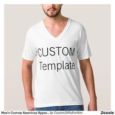 0862fa396 Men's Custom American Apparel V-Neck T-Shirt WHITE Personalized Gifts For  Men,