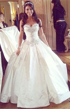 Gorgeous Sweetheart Crystal Princess Wedding Dress from www.27dress.com