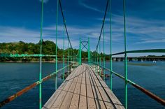 Blue summer skies over The Wiggly Bridge in York, Maine.