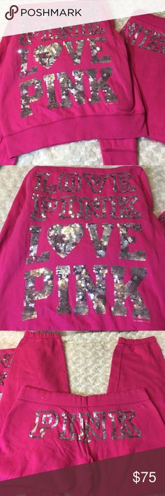 Victoria's Secret Pink Sweat Suit Both Sz Medium / Pink with Silver Sequin / Drawstring hood and Pants / Minor pilling but hardly noticeable PINK Victoria's Secret Other