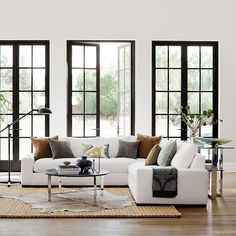 Robertson Customizable Sectional Robertson Customizable Sectional Sofa – love the wide arms and one piece seat on each section. (Definitely not in white upholstery. Living Room Windows, Home Living Room, Interior Design Living Room, Living Room Designs, Living Room Decor, Design Bedroom, Bedroom Colors, Apartment Living, Living Area