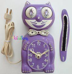 Lilac Kit Kat clock with rhinestones