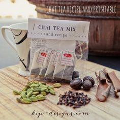 Chai tea recipe and free label. Cute and yummy.