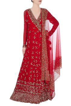 Shop Astha Narang - Red anarkali with metallic embroidery Latest Collection Available at Aza Fashions