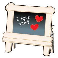 Easel out of craft sticks, clothespins and black construction paper. Could be picture frame too. Vbs Crafts, Camping Crafts, Preschool Crafts, Crafts For Kids, Preschool Christmas, Mothers Day Crafts, Valentine Day Crafts, Holiday Crafts, Valentines