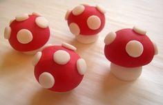 Mushroom cupcake toppers.