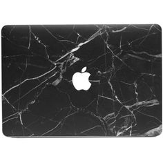 Hyper Marble MacBook Skin Black ($25) ❤ liked on Polyvore featuring women's fashion, accessories and tech