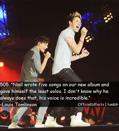 I'm so proud of Niall for writing five songs. Im sure he really enjoyed being able to do that. But the fact that he gave himself fewer solos than the rest of the boys, just shows how humble he is. I would like to say management had something to do with it, and who knows they might have, but I just hope that niall knows that all of the fans love niall's voice just as much as the other boys' :'(((