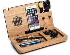 Gift for him, Iphone docking station, personalized exclusive Monogram, gift for boyfriend, mens eye and wallet dock, mens desk organizer