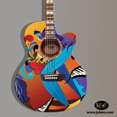 "Hand Painted Guitar by artist Julie Borden, owner of Juleez. ""The Player"" Custom Painted Guitar www.juleez.com"