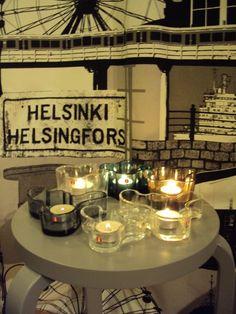 Artek stool. Iittala candle holders.