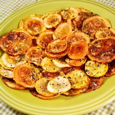 slice yellow squash thinly. salt and pepper (add seasonings of your choice) bake for 2-3 hours. The longer you bake, the crispy they get.