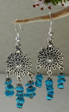 Tibetan Silver and Howlite Dangle Earrings by TheCrystalCavern