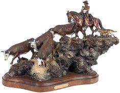 Western Decor : James Regimbal Bronze Sculpture by CulturalPatina Western Decor, Western Art, Bronze Sculpture, Sculpture Art, Diorama, University Of Montana, Cultural Artifact, Animal Sculptures, Sand Sculptures