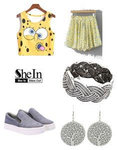 """Sponge-Bob Outfit/SHEIN No.9"" by esmir-suvalic ❤ liked on Polyvore featuring Retrò, vintage, yellow, spongebob and beoriginal"