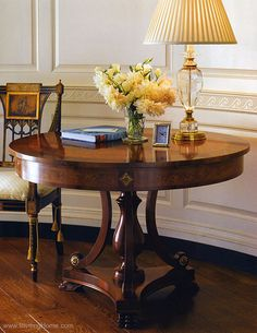 luxury furniture - center tables - room decor with Biedermeier style round wood center table, crystal lamp, and hand-painted Sheraton armcha...
