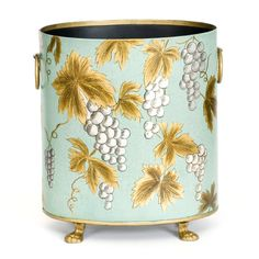 The hand-painted design gleams out in gold and is finished with gilt trim, circular brass carry handles and brass feet. This piece comes in a range of colours; green-blue, ivory or delicate teal work well in lighter interior design schemes, while the warm mango adds a splash of colour to a room and the striking black offers a more masculine take for a study or bedroom. #HomeDecor