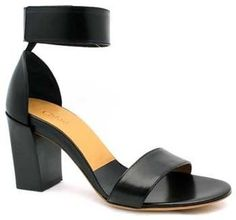 Chloe CH20094 Black Leather Ankle Strap Chunky Heel Sandal Chloé