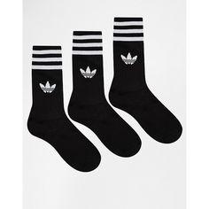 adidas Originals Solid Crew Socks ($13) ❤ liked on Polyvore featuring intimates, hosiery, socks, black, shoes, accessories, adidas, blackwhite, striped socks and crew length socks
