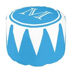 #monogram - #Summer Blue and White Bunting Monogram Pouf