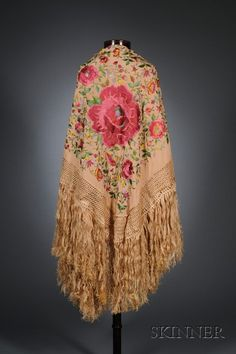 Polychrome Embroidered Peach Silk Fringed Piano Shawl