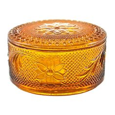 Pre-Owned Amber Floral Glass  Box ($89) ❤ liked on Polyvore featuring home, home decor, small item storage, decor, decorative accessories, scroll box, floral home decor, glass home decor, floral boxes and glass box