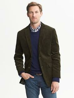 Tailored-Fit Green Cord Blazer, Banana Republic -- a great look for guys :)