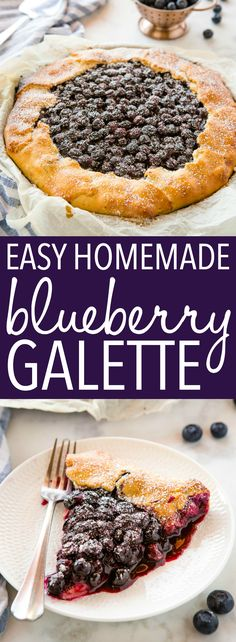This Easy Blueberry Galette is the perfect simple summer dessert made with an easy homemade pie crust and fresh juicy blueberries! Recipe from thebusybaker.ca! #galette #homemadepie #blueberrypie #blueberries #fresh #dessert #summer #harvest via @busybakerblog Summer Desserts, Easy Desserts, Summer Recipes, Holiday Recipes, Delicious Desserts, Keto Desserts, Yummy Treats, Yummy Food, Tart Recipes