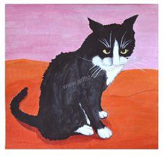 Sad, cat painting, cute, sweet, watercolors, hand painted, original art, black, white, red, pink, square, sitting, funny, humor, grumpy,
