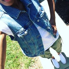 Ootd. Army green cropped cargos, white tee, denim vest and white all stars.   Follow on ig for everyday ootd  @uniquely__created