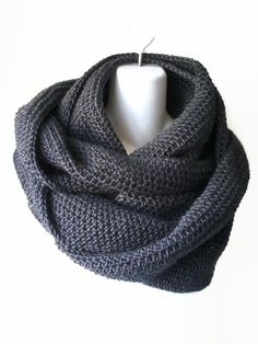 Scrolling Infinity Scarf Charcoal Grey Eternity Loop Scarf Oversize Charcoal Cowl Women Men SAMANTHA - Autumn, Winter Fashion. scarves, crochet, big scarves
