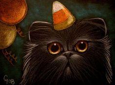 """Black Persian Cat - Halloween Party"" par Cyra R. Cancel"