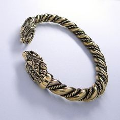 Massive VIKING Bronze WOLF BRACELET Vikings Jewelry by RuyaN