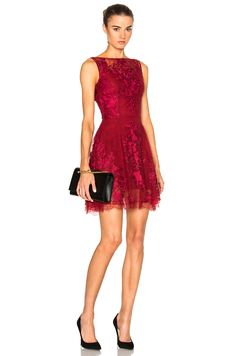 Image 1 of Zuhair Murad Lace Mini Dress in Scarlet Sage Red