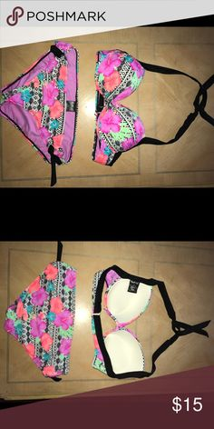 NWOT Swim top (L) and matching bottom (M) Top is a LARGE.. bottoms are a MEDIUM. Push up top, super cute. All offers welcomed. I'm moving and just need things gone. Any questions, just ask 🙃 Swim Bikinis
