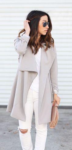 #fall #fashion / white + gray