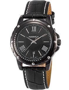 Agent X Herren Analog Leder Band Japan Quarzwerk Datum Anzeige Armbanduhr AGX114 - http://herrentaschenkaufen.de/agent-x/agent-x-herren-analog-leder-band-japan-quarzwerk
