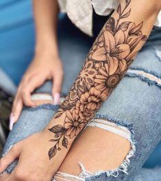 Best Sleeve Tattoos, Body Art Tattoos, Cool Tattoos, Half Sleeve Tattoos For Women, Tatoos, Women Sleeve, Arm Tattoos For Women Forearm, Flower Sleeve Tattoos, Unique Women Tattoos