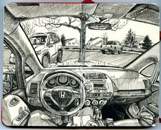 Yet again. A three-part sketch completed between February and March 2014 (at several locations). .3 Staedtler Pigment Liner and .5 Micron in pocket Moleskine sketchbook.