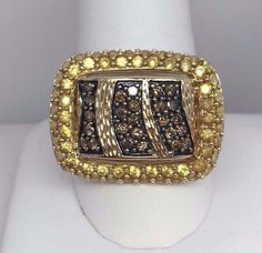 SF SIGNED NATURAL YELLOW SAPPHIRE CHOCOLATE DIAMOND 14K YELLOW GOLD RING