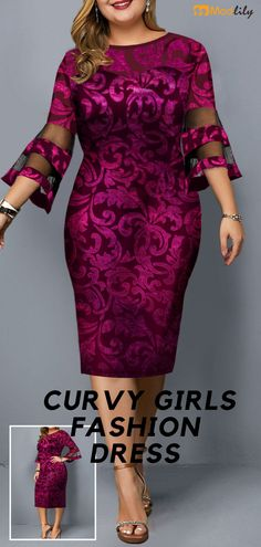 Plus Size Mesh Panel Flare Sleeve Dress - Maybe you don't like me, but I am very satisfied with myself. - : Plus Size Mesh Panel Flare Sleeve Dress - Maybe you don't like me, but I am very satisfied with myself. Curvy Girl Fashion, Plus Size Fashion, Bodycon Dress With Sleeves, Dresses With Sleeves, Sheath Dress, Ankara Mode, Curvy Dress, Frack, Latest African Fashion Dresses