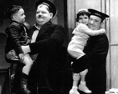 Laurel and Hardy, with Spanky & Darla from Our Gang