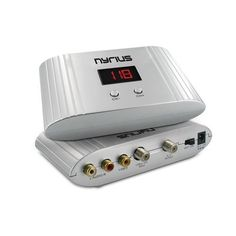 Nyrius NRFM100 Universal Channel RF Signal Modulator Audio/Video Converter with UHF/CATV Mode for satellite/cable TV set-top-box, DVD, surveillance camera by Nyrius. $29.99. The Nyrius NRFM100 RF modulator allows you to watch your audio/video device on multiple TVs throughout your home by setting it to a dedicated channel. Simply change to the desired channel on any of your TVs and instantly watch your set-top-box, favorite DVD or check your front door surveillance camera when th...