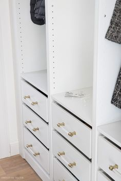 Gorgeous acrylic and brass pulls dress up this IKEA PAX closet! Ikea Pax Closet, Bedroom Closet Doors, Master Closet, Ikea Drapes, Creative Closets, Closet Door Makeover, Driven By Decor, Box Bed, Beautiful Houses Interior